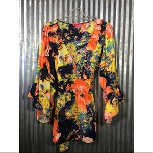 Betsy Johnson Bright Colored Abstract Top Size XL